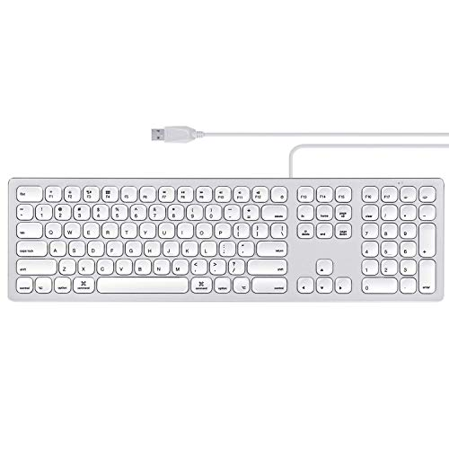 Perixx PERIBOARD-325 Wired Backlit Aluminum USB Keyboard, Compatible with Mac OS X, X Type Scissor Keys Slim Design with 2 Built-in USB Hubs, US English Layout
