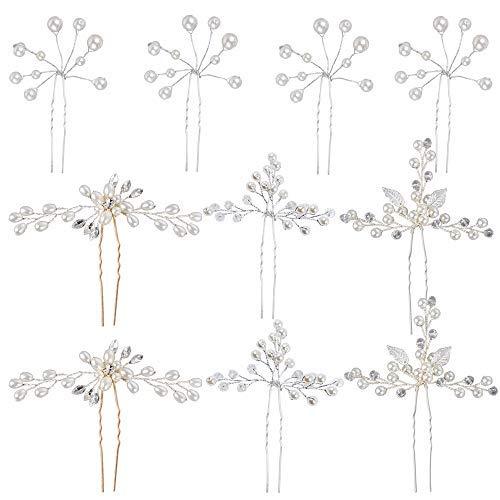 10 Stück Haarnadeln Hochzeit Perlen Brautschmuck Kristall Haarschmuck U-förmige Haarnadeln Blumen Kopfschmuck Für Hochzeit Braut Brautjunger