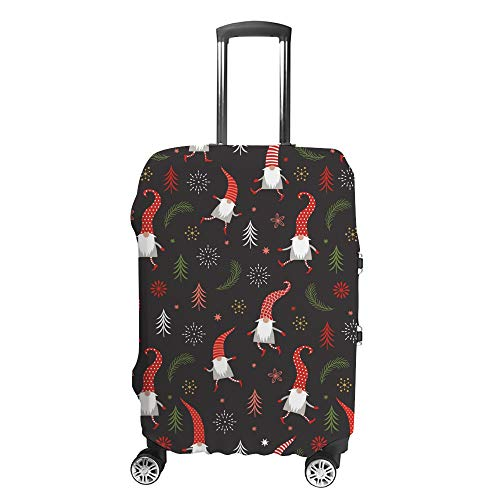 CHEHONG Suitcase Cover Luggage Cover Cute Christmas Gnomes Red Hats Travel Trolley Case Protective Washable Polyester Fiber Elastic Dustproof Fits 22-24 Inch