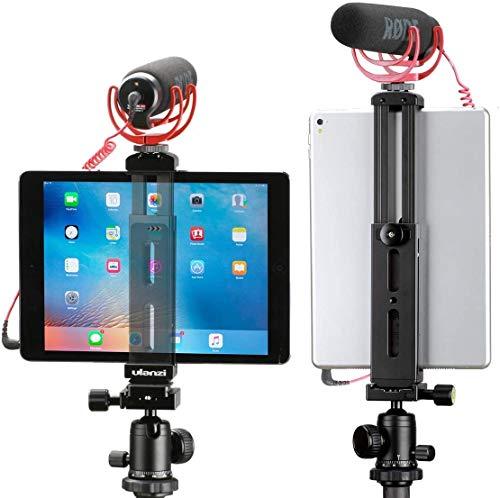 Kiowonアルミ製iPad三脚マウントホルダーアタッチメント iPad三脚アダプターブラケット タブレットクランプホルダー コールドシューマウント iPad Pro/iPad Air/iPad Mini用 三脚一脚用1/4インチネジ穴付き