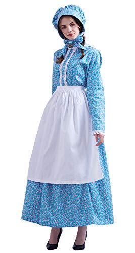 GRACEART Women's Pioneer Woman Costume Colonial Dress 100% Cotton Blue 18