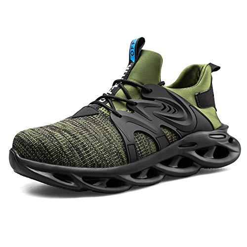 Ziboyue Chaussures de sécurité pour Hommes Femmes Chaussures de Travail légères et Respirantes Chaussures d'entraînement à Embout d'acier Baskets industrielles,45 EU,Vert