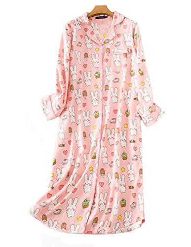 DSJJ Pyjama en Coton à Manches Longues pour Femmes, Chemise de Nuit Femme boutonnée Devant,vêtements de Nuit Femme, Grandes Tailles (M-2XL) (Rose,XXL)