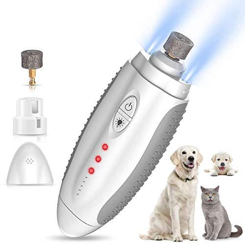 Elettrico Dog Nail Grinder Tagliaunghie con Luce Led Ricaricabile con Velocità Regolabile 50db Super Silenziosa Unghie Smerigliatrice Forbici Accessori per Cani e Gatti
