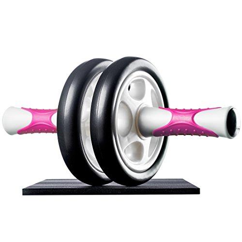 Ultrasport Attrezzo per Addominali AB Roller/Trainer AB Supporto per le Ginocchia, Allenamento Addominali per Uomini, Donne e Persone Anziane, Trainer Muscolare Pieghevole, Rosa, Taglia Unica