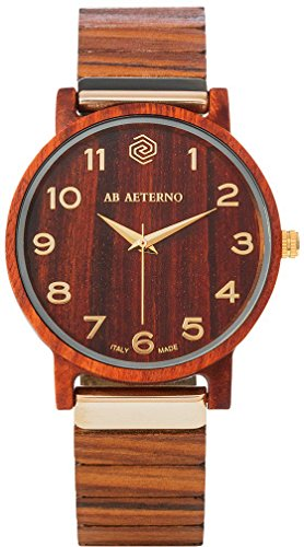 AB AETERNO'Fenix Red' Legno Sandalo Rosso Swiss Quarzo Oro Ipoallergenico Analogico Unisex Orologio