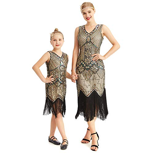 AMJM ParentChild#039s 1920s Gastby Sequin Art Nouveau Embellished Fringed Flapper Dress 130 Glam Gold