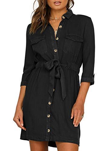 Happy Sailed Damen Langarm V-Ausschnitt Elegant Kurz Blusenkleid Hemdkleid Shirt Kleid Oberteil Kleid Minikleid mit Gürtel,Schwarz,S