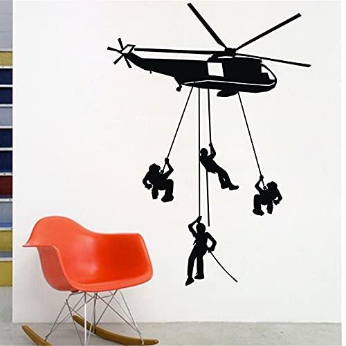 Pegatinas de pared de helicóptero, decoración de dormitorio para niños, 4 soldados del ejército, decoración de pared, Mural, pegatinas de pared A9 43x61cm