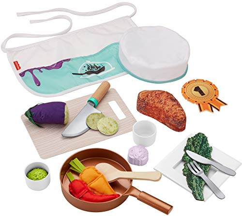 Fisher-Price Head Chef Set, pretend kitchen cooking play set for preschool kids ages 3 years and up