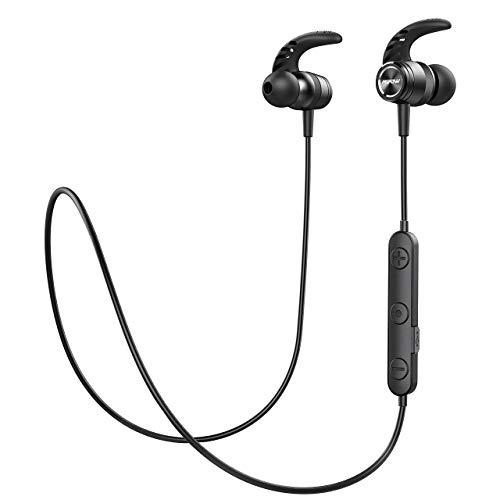 Mpow Bluetooth Headphones, Magnetic Lightweight Wireless Earbuds w/Mic, IPX7 Waterproof Hi-Fidelity Audio Sports Wireless Running Headphones, 8 Hrs Playtime Wireless Headphones, Black