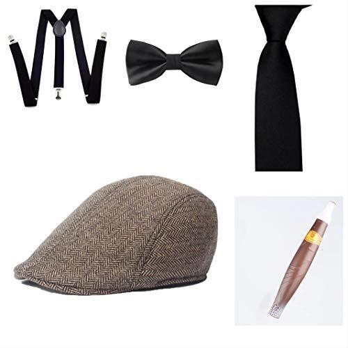 thematys Al Capone Mafia Gangster Hut + Fliege + Krawatte + Hosenträger + Zigarre - 20er Jahre Kostüm-Set für Damen & Herren - perfekt für Fasching & Karneval (10)