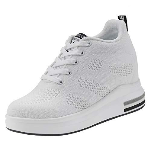 tqgold® Wedges Sneaker Damen mit Keilabsatz 8cm Sportschuhe Turnschuhe Plateau Schuhe Weiß Größe 38