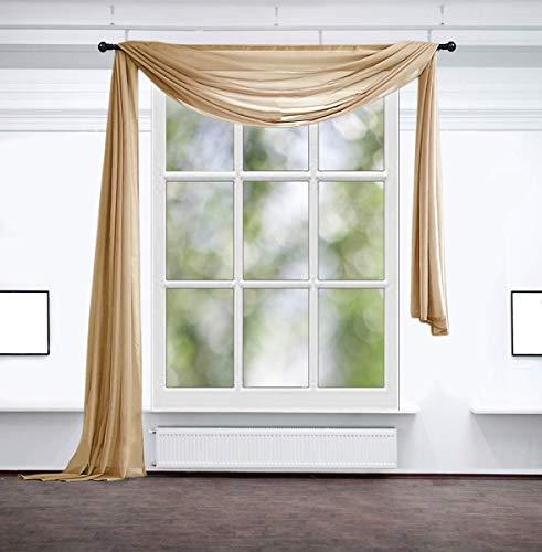 Inox Trade Querbehang Freihanddeko Fertiggardine Gardine 140x600 cm aus transparentem Voile