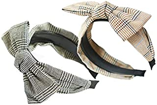 2Pcs Fashion Big Bowknot Hair Hoop Women Headband Large Bow Headwraps Hair Band Simple Temperament Houndstooth Hair Headband Lovely Girls Accessories Gift (A)
