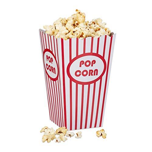Relaxdays Popcorntüten, 48 Stück, gestreift, US-Retrostyle, Kino, Filmabend Zubehör, Kindergeburtstag, Pappe, rot/weiß