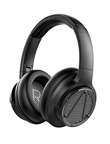 AUSDOM Bass One Auriculares con Cancelación de Ruido, 50 Horas de Juego, Cascos Bluetooth 5.0 con IVC Bass Tecnología Sensorial Ajustable, Type-C Carga Rápida para Viajes, TV, PC, Teléfono y Trabajo