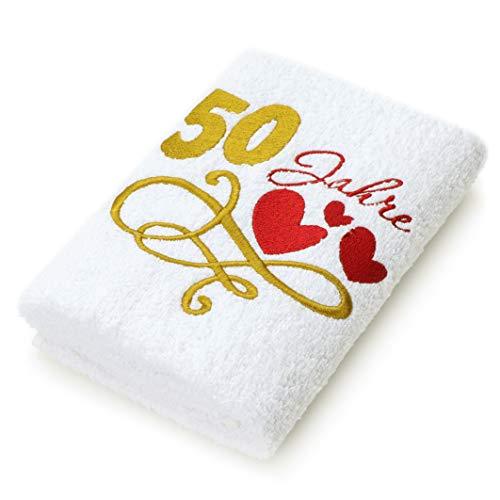 Abc Casa Geschenk-Handtuch zum 50 Geburtstag mit aufgestickten Herzen und 50 Jahre für Frauen und Damen - eine praktische 50 jähriges Jubiläum Geschenkidee - nützliches 50 Jahre Geburtstagsgeschenk