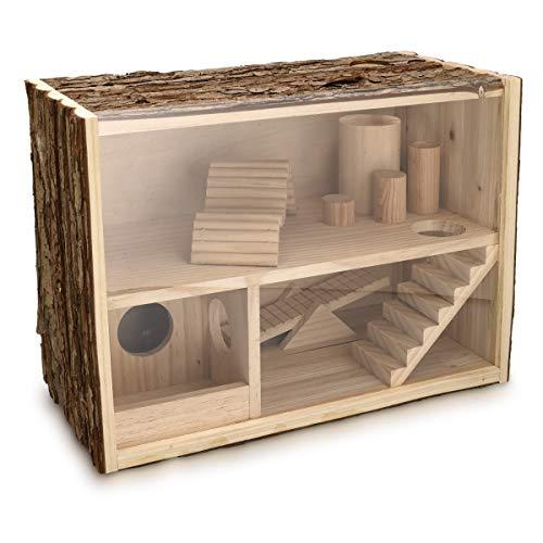 Navaris Hamsterhaus zweistöckig aus Holz - 39 x 20 x 27,5cm - Häuschen für Mäuse Degu Ratten Rennmaus Käfig - Hamster Labyrinth Haus Spielzeug