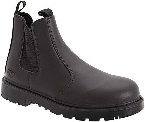 Grafters Sicherheits-Chelsea Stiefel Dealer Größe 35 - 51,5Arbeit Honig Nubuk m808N, schwarz - Black Leather - Größe: 42 2/3 EU