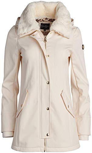Jessica Simpson Women's Soft Shell Hooded Jacket with Faux Fur Collar, Size Large, Ivory