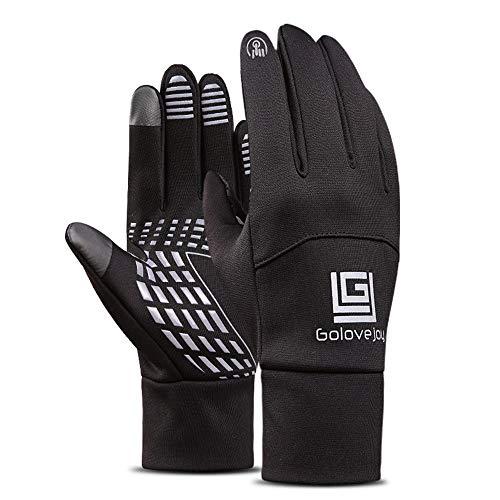 Winterhandschuhe Fahrradhandschuhe, wasserdichte Warme Handschuhe, Winddichte Outdoorhandschuhe, Touchscreen-Design, Unisex (Schwarz)