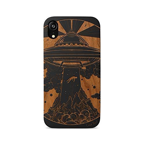 iPhone 11 Pro Max Case by Case Yard Fit for iPhone 11 Pro Max 6.5-Inch [ 2019 Release ] Shock-Absorption iPhone 11 Pro Max Phone Cover Wood Black iPhone 11 Pro Max Cases Alien Spaceship