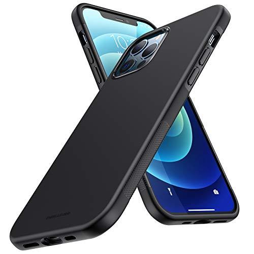UNBREAKcable Cover per iPhone 12 e iPhone 12 PRO - [Antiurto e Antiscivolo] Custodia per iPhone 12 PRO e iPhone 12 in Silicone TPU (6.1 Pollici), Resistente Ultra Sottile Elegante Case - Nera Opaco