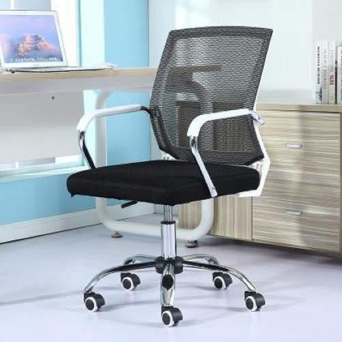 Spelstoel bureaustoel computer stoel offic Comfortabele en duurzame Eenvoudige Huishoudelijke Mesh Computer Stoel Conferentie Stoel Wit Frame Liften Glijdende Rolstoel (Zwart) racestoel racen gaming cha Zwart