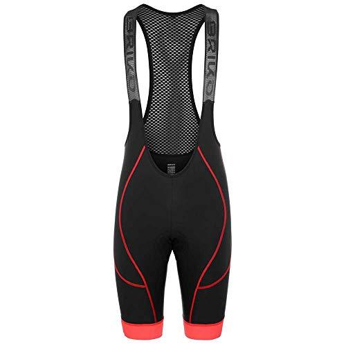 Briko Granfondo Bibshort Pantalones Cortos, Black Red, XL pa