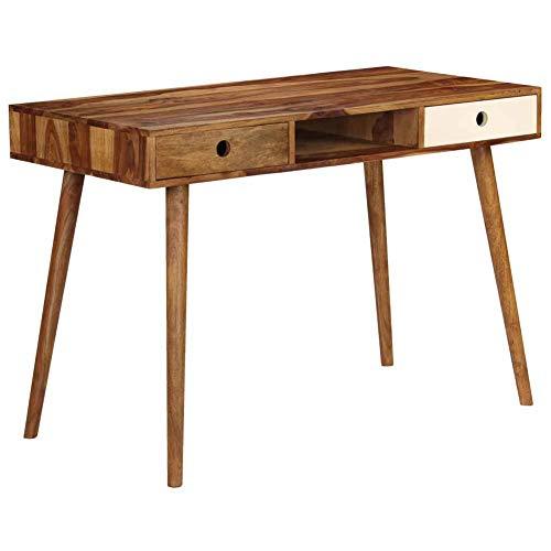 Ausla - Escritorio de ordenador con 2 cajones y 1 compartimento abierto, mesa de trabajo, madera sólida, mueble de escritorio para dormitorio, salón, oficina, 110 x 55 x 76 cm