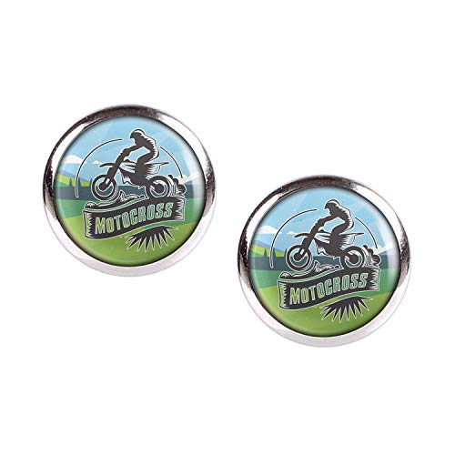 Mylery Ohrstecker Paar mit Motiv Moto-Cross MX Enduro Motor-Rad silber 12mm