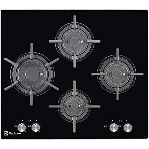 Electrolux Rex-Plaque de Cuisson à Gaz PVF 645 UON Finition Cristal Trempé Noir 60 cm