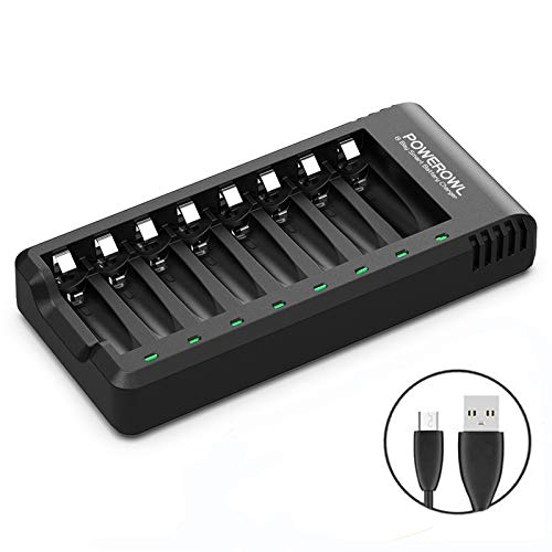 POWEROWL 8 Bay AA AAA Battery Charger, USB High-Speed Charging, Independent Slot, for Ni-MH Ni-CD Rechargeable Batteries, No Adapter