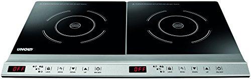 UNOLD Doppel-Induktionskochfeld, Kochplatte, 3.100 Watt, 59,8 x 29,0 cm, Touch-Display, Timer, Energiesparend, Erweiterbar, 58285