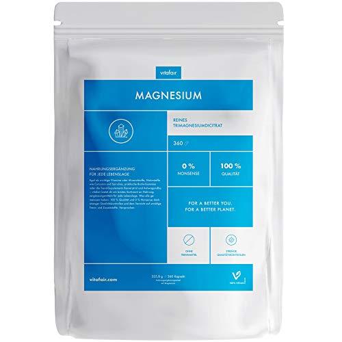 VITAFAIR Magnesium hochdosiert Kapseln, German Quality - 114 mg Magnesium pro Kapsel aus Tri-Magnesiumdicitrat, 120{64018c8de22e7817c2d6dd1ef5783ea434efe801d04063a7dd26d5e1f69a0946} Tagesbedarf, 360x Magnesium Citrat Kapseln, vegan & ohne Zusatzstoffe