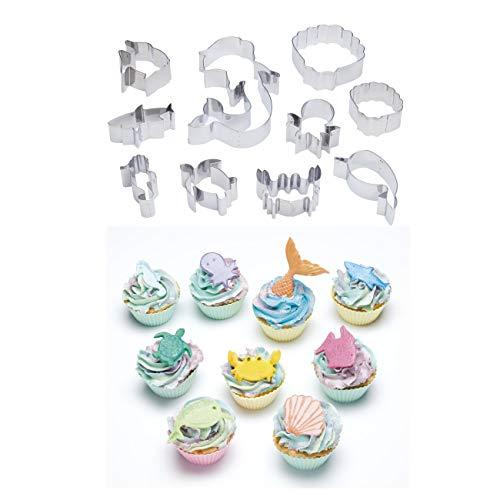 KitchenCraft Sweetly Does It - Juego de moldes para fondant o cupcakes en caja de regalo, formas de animales submarinos, acero inoxidable