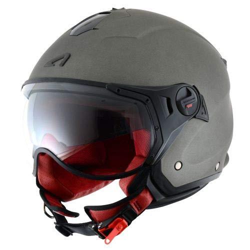 Astone Helmets - MINIJET S SPORT monocolor - Casque jet compact - Casque de moto look sport - Casque de scooter mixte - Casque en polycarbonate - Matt titanium XL
