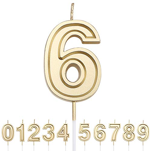URAQT Velas Cumpleaños Número 6, Velas de Pastel de Cumpleaños, Velas Doradas para Cumpleaños/Aniversario de Bodas/Fiesta de Graduación, Número 0-9 para Elegir
