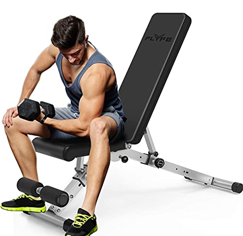 FLYFE Adjustable Weight Bench – Foldable and Compact Workout Bench – Incline and Decline Flat Utility Weight Bench – Strength Training Fitness...
