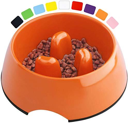 DDOXX Fressnapf Antischlingnapf, rutschfest | viele Farben & Größen | für kleine & große Hunde | Futter-Napf Katze | Hunde-Napf Hund | Katzen-Napf | Melamin-Napf | Orange, 140 ml
