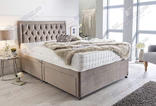 Sleep Factory's Luxury Divan Bed Set in Pebble Plush with Chesterfield Bumper Headboard and Memory Sprung Mattress 5.0FT (King Size) 4 Drawers