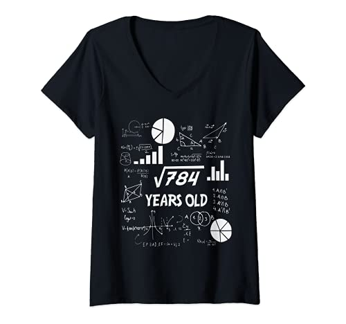 Donna 28° compleanno scienza radice quadrata matematica 28 anni Bday Nerd Maglietta con Collo a V