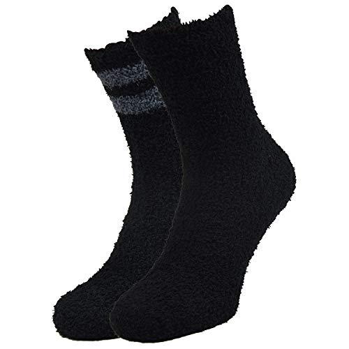 Qano Herren 4117 2er Pack Kuschelsocken bis Gr.50, Wellness Socken, schwarz uni, schwarz mit grauen Schaftringeln (39-42)