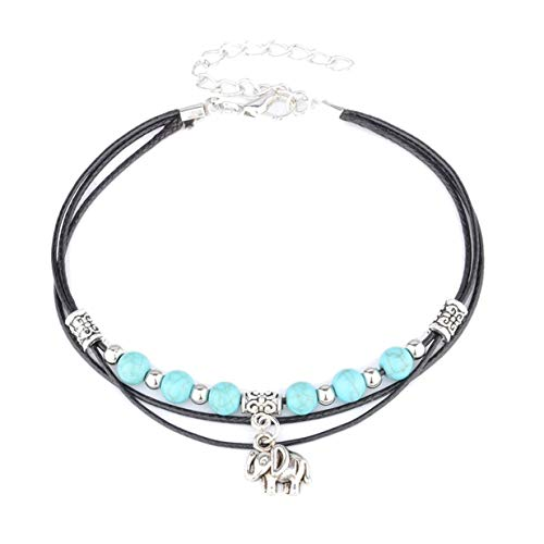 EJY Boho Elephant Anklet Vintage Ankle Bracelet For Women Buddha Foot Jewelry Summer Barefoot Beach Anklet (style 1)