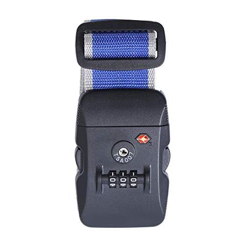 Logic(ロジック) スーツケースベルト TSAロック ベルト (全12色 ブルー × ホワイト) [盗難・紛失・荷崩れ防止] スーツケース用 鍵付き ダイヤルロック タスロック 長さ調節可能