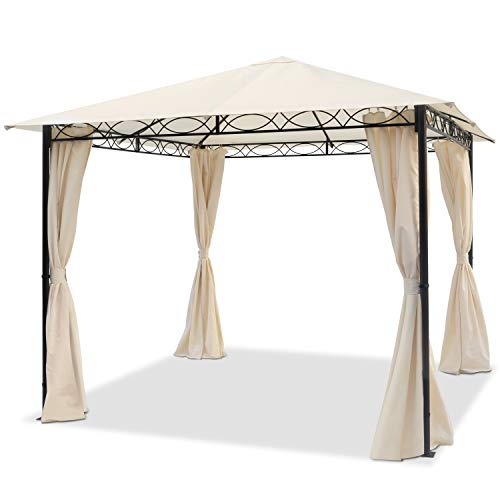 TOOLPORT Garden pavilion 3x3m waterproof pavilion with 4 side panels/curtains garden tent 180g/m² in beige roof tarpaulin Party Tent