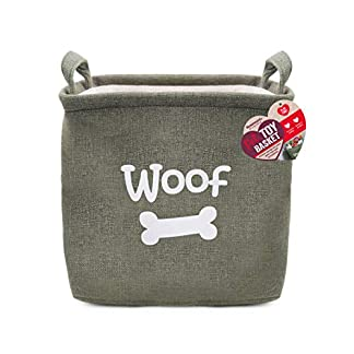 Canvas pet toy storage box for dog toys and cat toys, durable fabric storage basket for toys, blankets and pet accessories, Green, 32 x 32 x 23cm (approximately 12 x 12 x 9 inches) 3