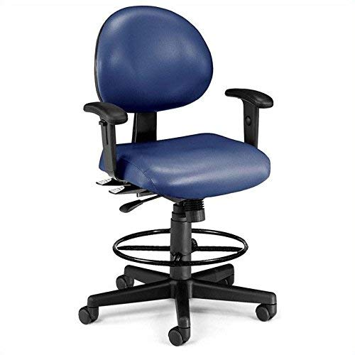 OFM 24 Hour Ergonomic Task Chair with Arms and Drafting Kit, Mid Back, in Navy (241-VAM-AADK-65)