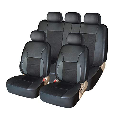 YIRU Car Seat Covers Full Set - Luxurious Leather Auto Front Rear Headrest Seat Protectors - Fits Most Car Truck Van SUV, 5 All Seat Covers, Black